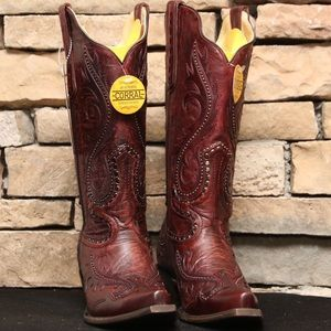 Corral Red Overlay And Studs Cowgirl Boot